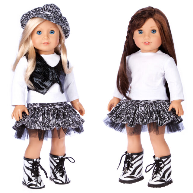 Fashionista - Doll Clothes for 18 inch American Girl Blouse Vest Hat Skirt Boots