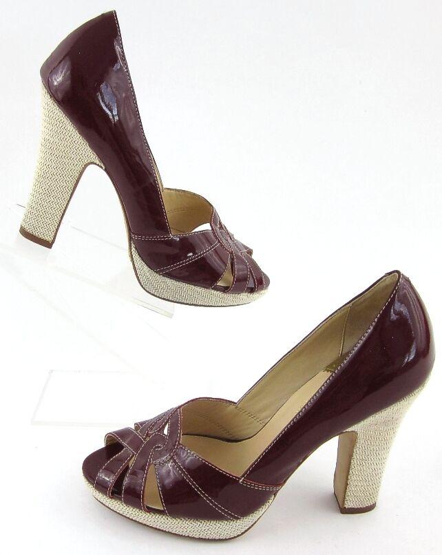 Cole Haan Air Peep Toe Platform High Heels Patent Wine Sz 8.5B