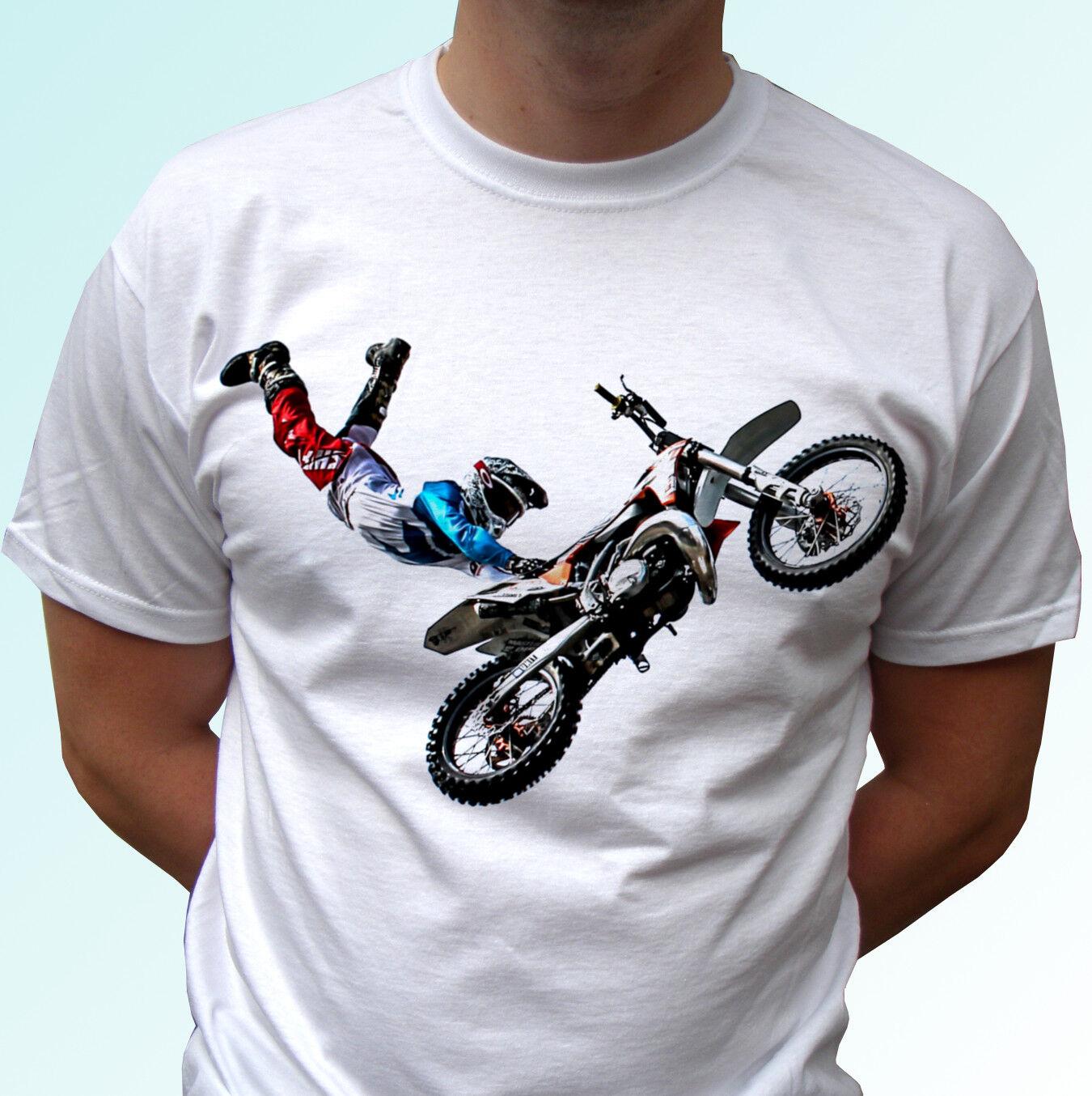 b0ef0efe3505e Freestyle Motocross jump white t shirt sport tee motorcycle top bike rider  summer o neck tee