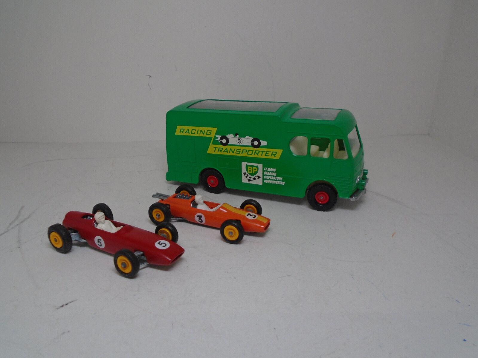 MATCHBOX M-6 RESTORED RACE CAR CAR CAR TRANSPORTER + RESTORED  orange LOTUS & RED BRM. 756