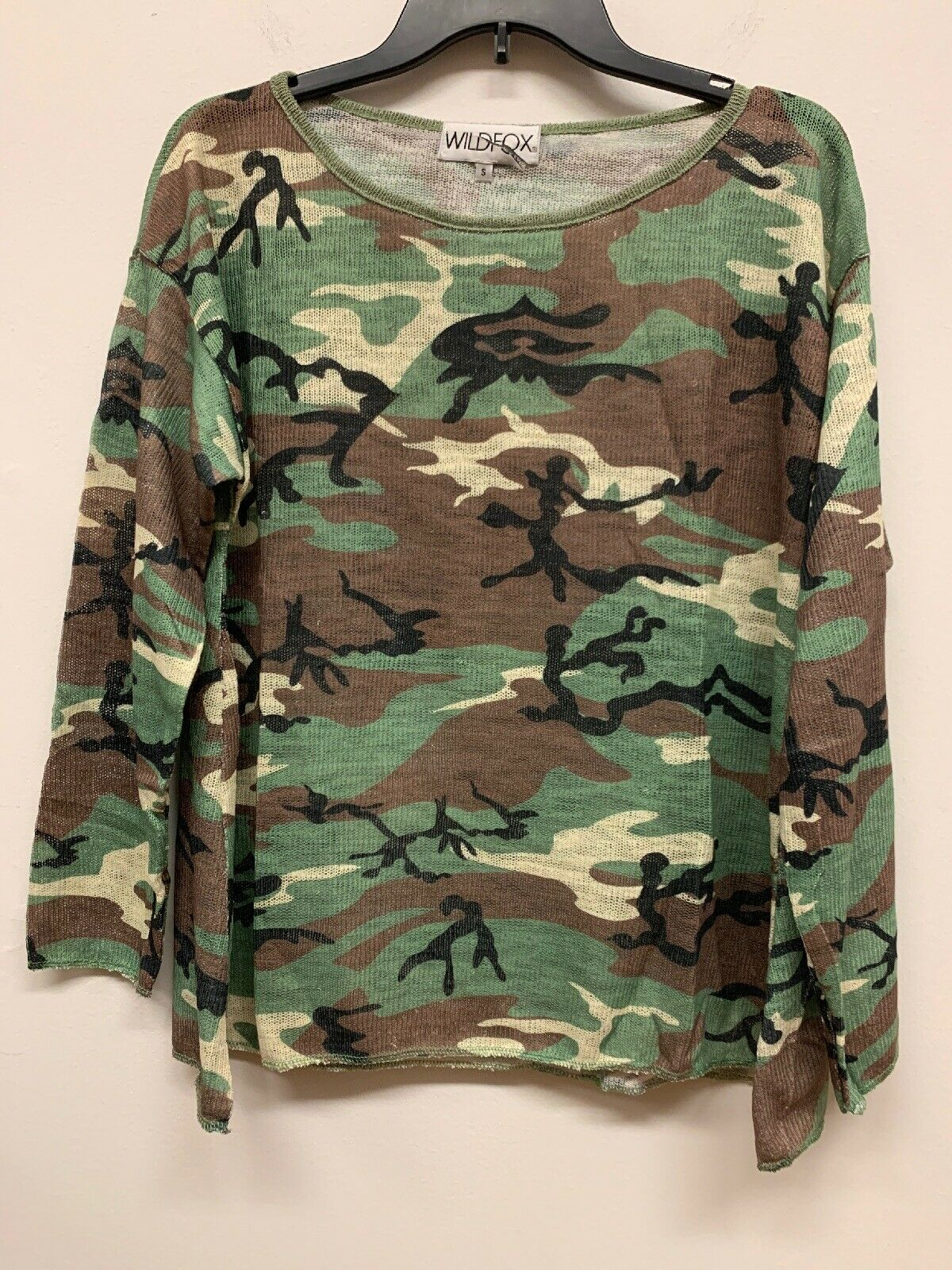 NEW Wildfox CAMO army green print Baggy Beach sweater Jumper Sweatshirt brown