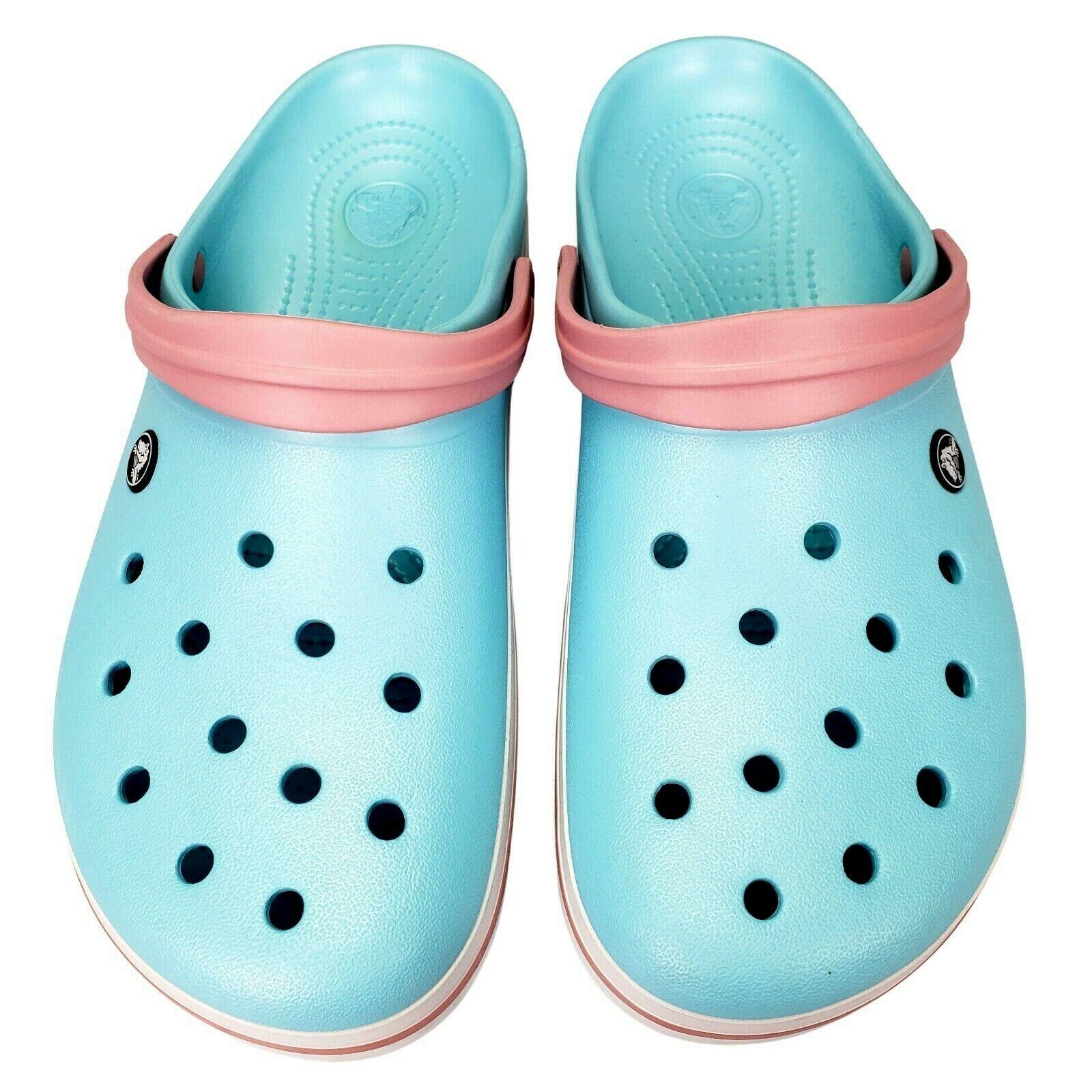 Crocs Clogs Mens Comfort Shoes Size 13 Crocband Light Ice Blue Pink White NICE