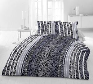 bettw sche 3 tlg microfaser 200x200 cm leopard blue blau. Black Bedroom Furniture Sets. Home Design Ideas