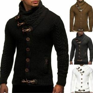Fall-Men-039-Turtleneck-Cardigan-Sweater-Coat-Silm-Fit-Warm-Knitting-Outwear-Winter
