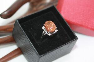 925-Sterling-Silver-5-05-ct-Genuine-Oval-Sandstone-Women-039-s-Handmade-Ring-Sz-6-25