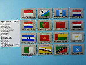 LOT-1008-TIMBRES-STAMP-VEXILLOLOGIE-DRAPEAUX-NATIONS-UNIES-ANNEE-1989