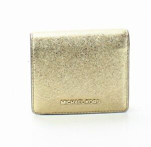 ec14c8681380 Michael Kors Gold Money Pieces Flap Card Holder Bifold Wallet Retail ...