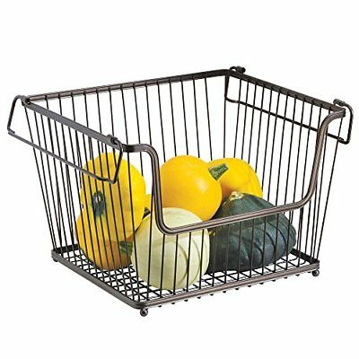 mDesign All-Purpose Basket Wire Basket with Han the Stackable Storage Basket