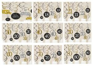 12-X-BIRTHDAY-PARTY-HANGING-SWIRLS-BLACK-GOLD-18-21-30-40-50-60-70-80-DECORATION