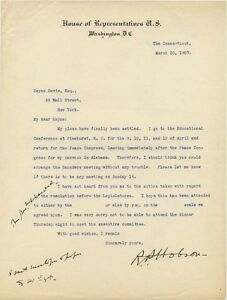 CMOH-winner-Richmond-Hobson-signed-letter-re-Peace-Congress-of-1907-SpanAm-War