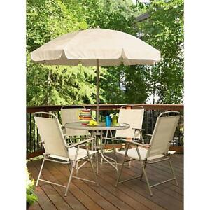 Cool Details About 6 Pc Patio Set Folding Chairs Tempered Glass Round Table Umbrella Tan Nib Uwap Interior Chair Design Uwaporg