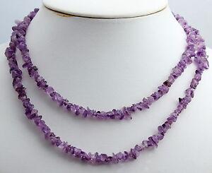 Amatista-Collar-de-Piedras-Preciosas-Interminable-ca-90-cm-Cadena-Minerales