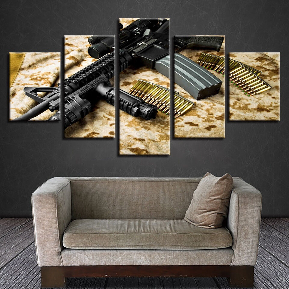 Army Rifle Gun And Bullets 5 Piece Canvas Print Wall Art