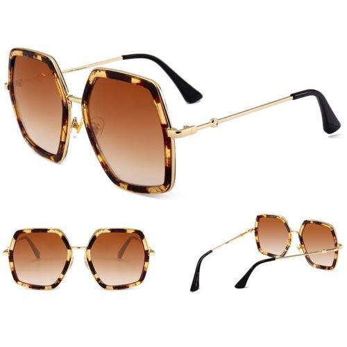 Large Retro VINTAGE Square Aviator Fashion Flat Top Women Sunglasses