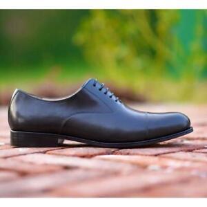 Hommes-Handmade-Cap-Toe-robe-noire-Derbies-a-Lacets-Bureau-Porter-Cuir-Veau-Chaussures