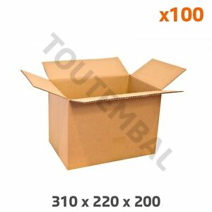 Caisse Carton Simple Cannelure 310 X 220 X 200 Mm ( A4 21x29.7 Cm ) (par 100)