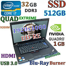 (3D Design FHD) Thinkpad W510 i7-EXTREME (BD-RE 512GB-SSD 32GB) 15.6 nVIDIA