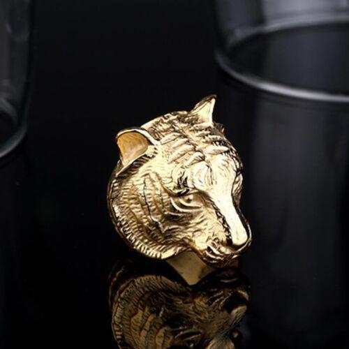 316L Stainless Steel Fashion Men Punk 3D Tiger Head 18KGP Ring G297 Sz 7-13