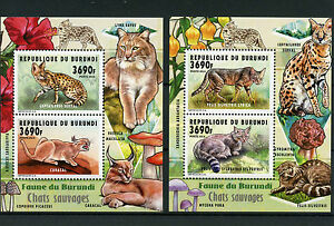 Burundi 2014 MNH Wild Cats 2v M/S x 2 Fauna Chats Sauvages Serval Caracal