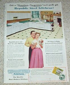 1954-vintage-ad-Republic-Steel-kitchens-lady-man-Canton-Ohio-print-Advertising