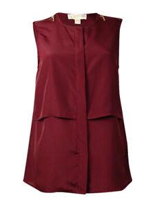 MICHAEL-Michael-Kors-Women-039-s-Zipper-Embellished-Sleeveless-Blouse