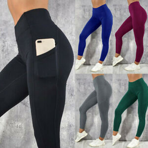 ebfe0323947717 Image is loading Women-039-s-Solid-Workout-Leggings-Fitness-Sports-