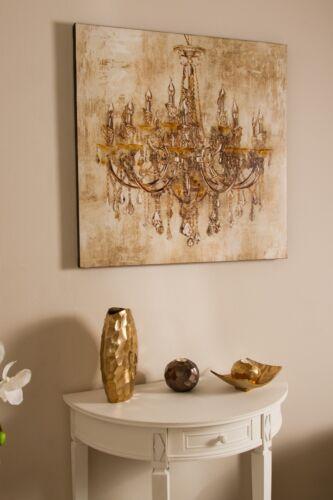 Bild Wandbild creme gold Holzrahmen Kronleuchter Handarbeit antik 80x80cm Ölbild