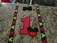 Iron On Embroidered Appliqué Tie Or Bow Mickey Mouse 5x7 Inch Plus Suspenders