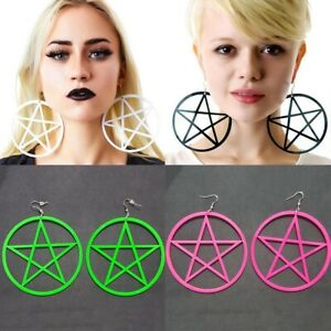 1-Paar-Mode-Punkrock-Runde-Gothic-Pentagramm-Stern-Ohrringe-Hoop-Goth-Ohrbolzen