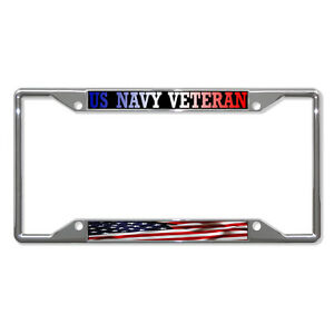 c85be4c3c524 US NAVY VETERAN AMERICAN FLAG Metal License Plate Frame Tag Border ...