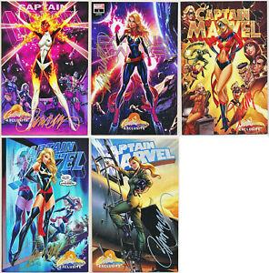 Captain-Marvel-1-Cover-A-B-C-D-E-Signed-J-Scott-Campbell-Variant-Set-1st-Star