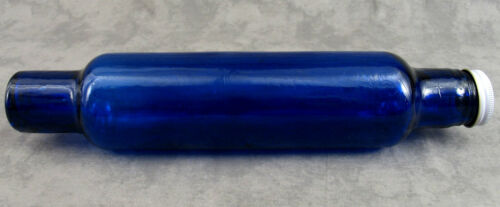 COBALT BLUE GLASS ROLLING PIN w// WATER FILL WHITE METAL END CAP