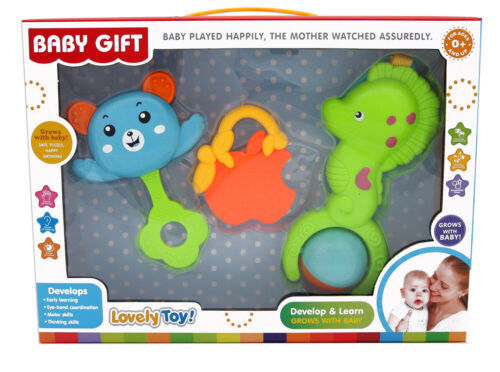 Baby Rattle Set Toy 3pcs Teether Rattle Various shapes Gift box Early learning