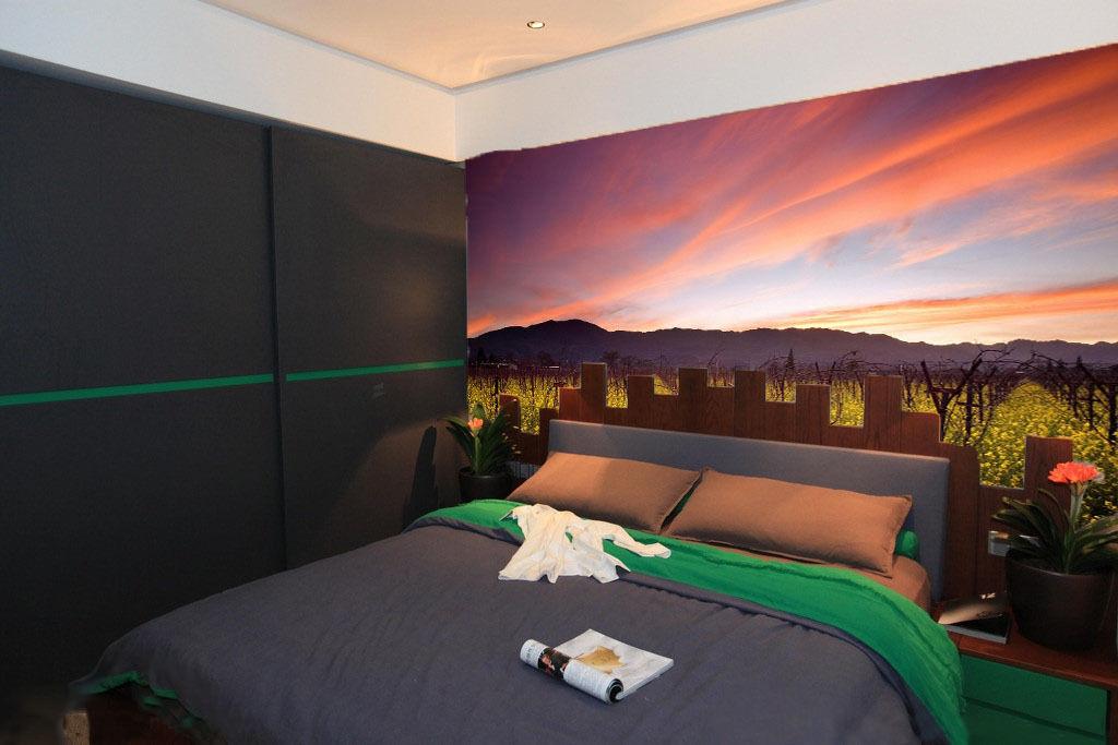 3D Hanada Coucher 6 Photo Papier Peint en Autocollant Murale Plafond Chambre Art