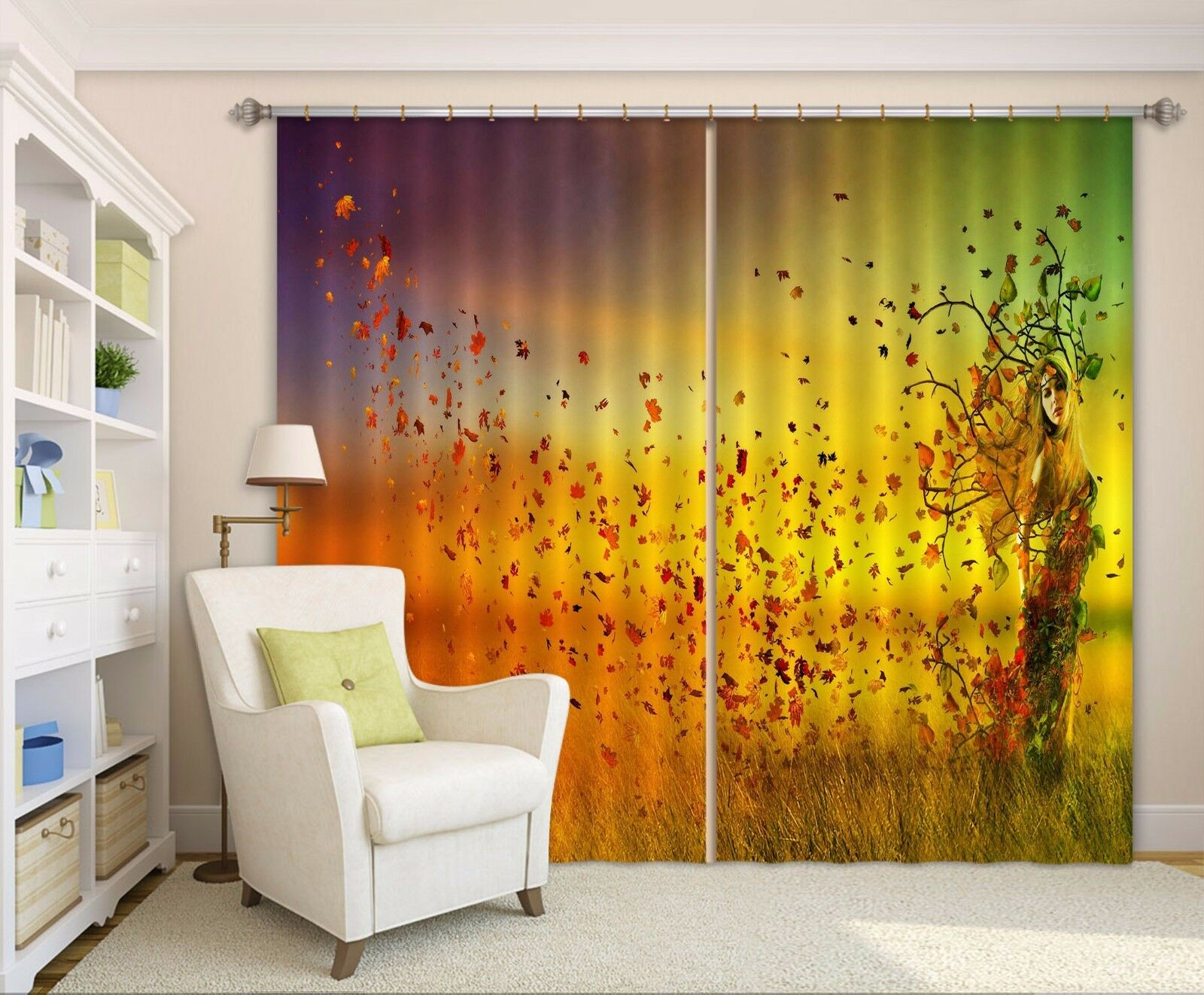 3D caída Girl 366 Cortinas de impresión de cortina de foto Blockout Tela Cortinas Ventana CA