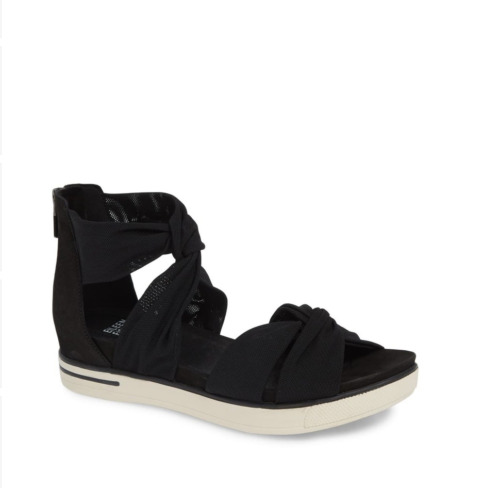Eileen Fisher Zanya Black Mesh Knotted Strap Suede