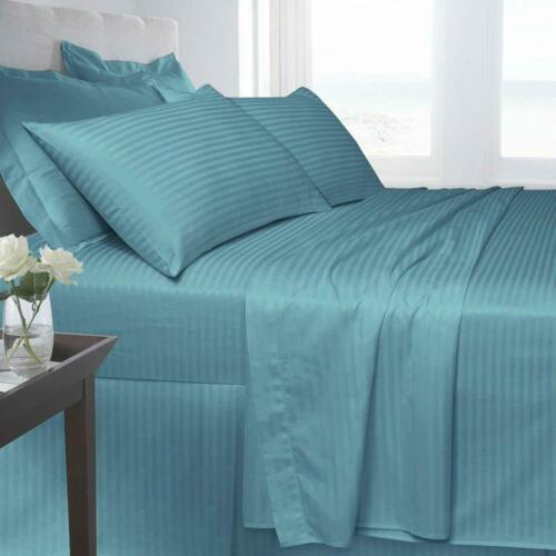 Satin Stripe T250 Egyptian Cotton Fitted Sheet Single Double King Super King