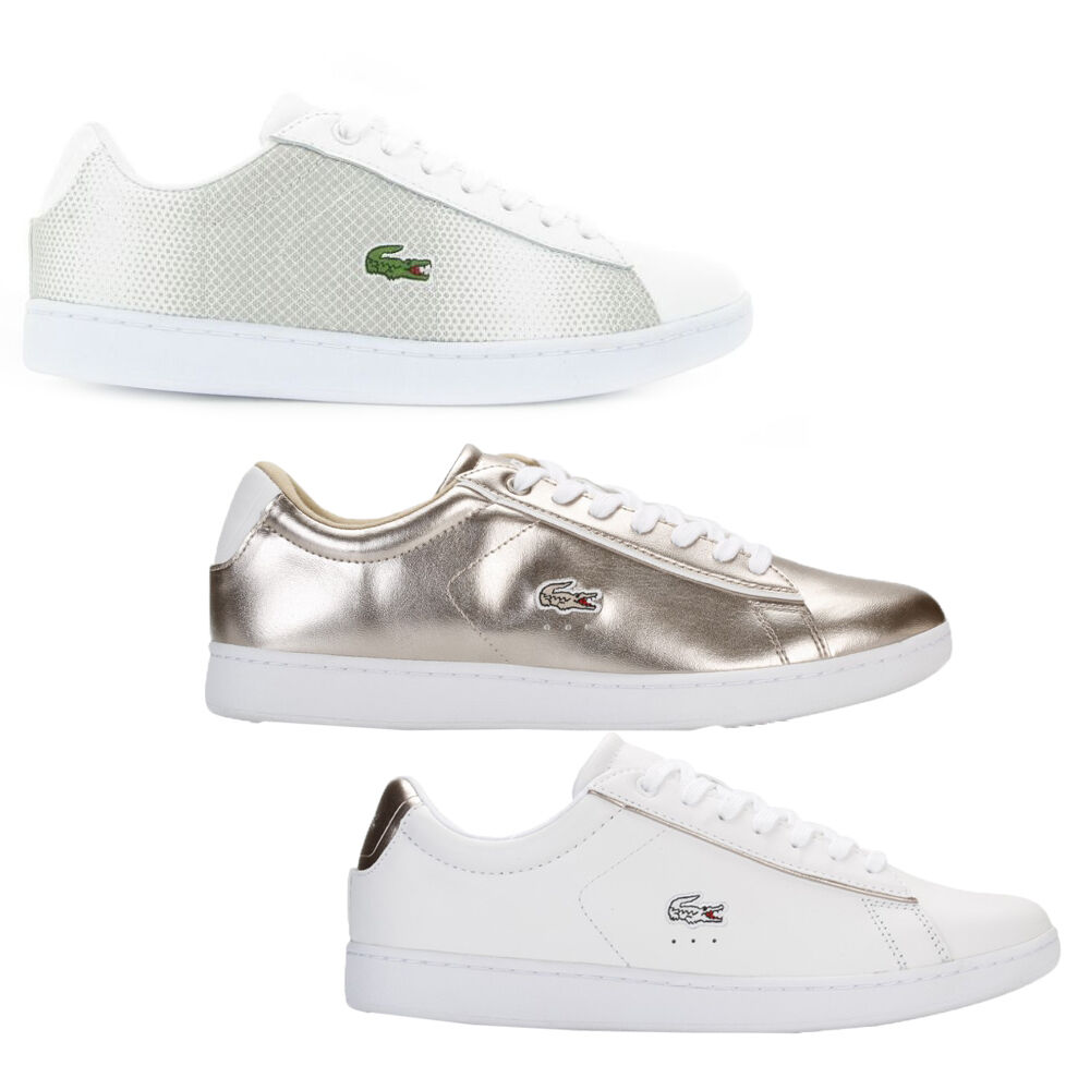 Zapatos promocionales para hombres y mujeres Lacoste Womens Carnaby Lace Up Active Sport Gym White Gold Grey Lo Top Trainers