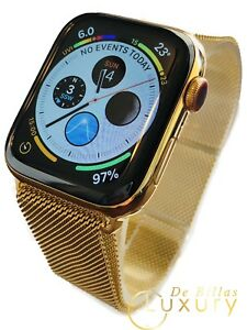 24k Gold Plated 44mm Apple Watch Series 5 Gold Milanese Loop Stainless Steel Ebay