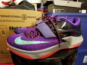 45ae6cbacf9 NIKE KD 7 VII LIGHTNING 534 CAVE PURPLE HYPER GRAPE 653996-535 US 12 ...