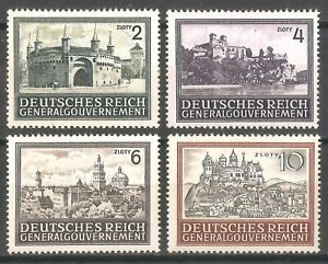 DR-Nazi-3d-Reich-Rare-WW2-Stamp-Hitler-Occupation-GG-Castle-Fortres-Gothic-Tower