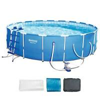 Bestway Steel Pro 18' X 48 Frame Pool Set W/ Pump, Ladder, & Ground/ Top Covers on sale