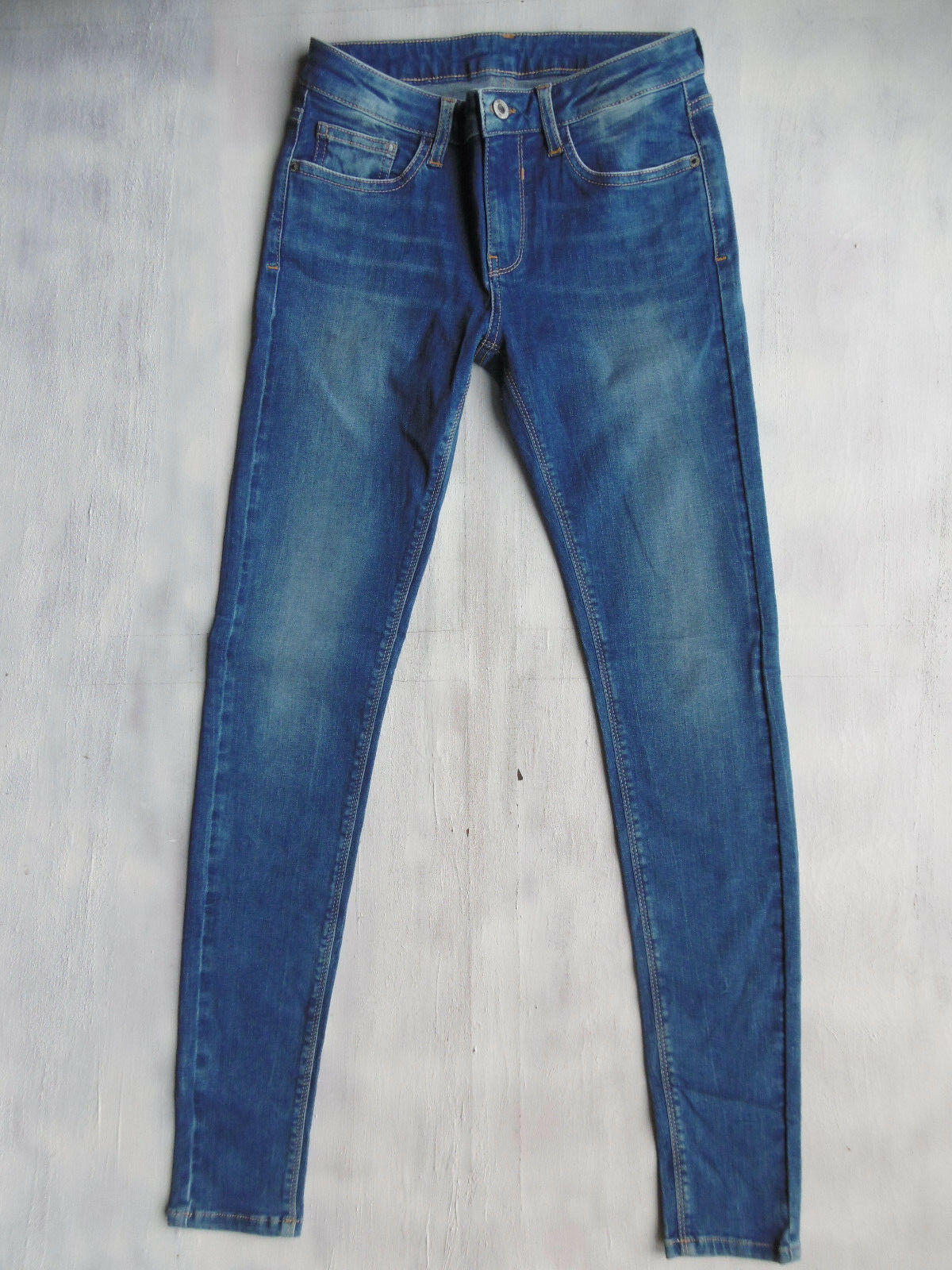 Pepe London Woman Super-SKINNY mid-high Jeans Hose blau Gr 34 36 W27 L32 Neu 56