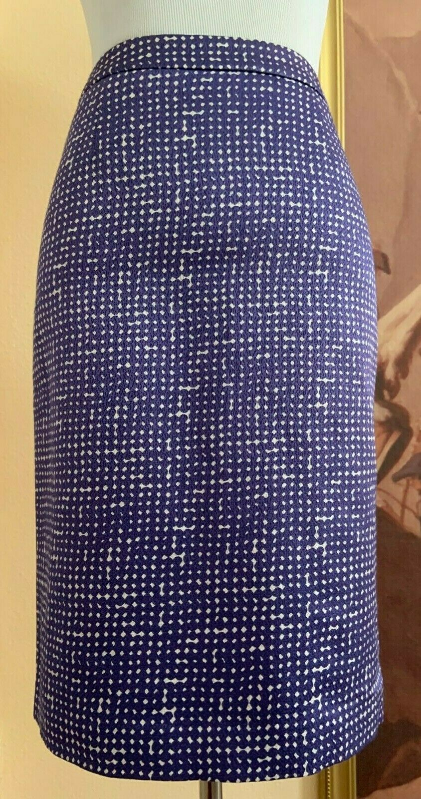Tory Burch Designer Printed Purple Pencil Skirt Size 0 cotton wool silk blend