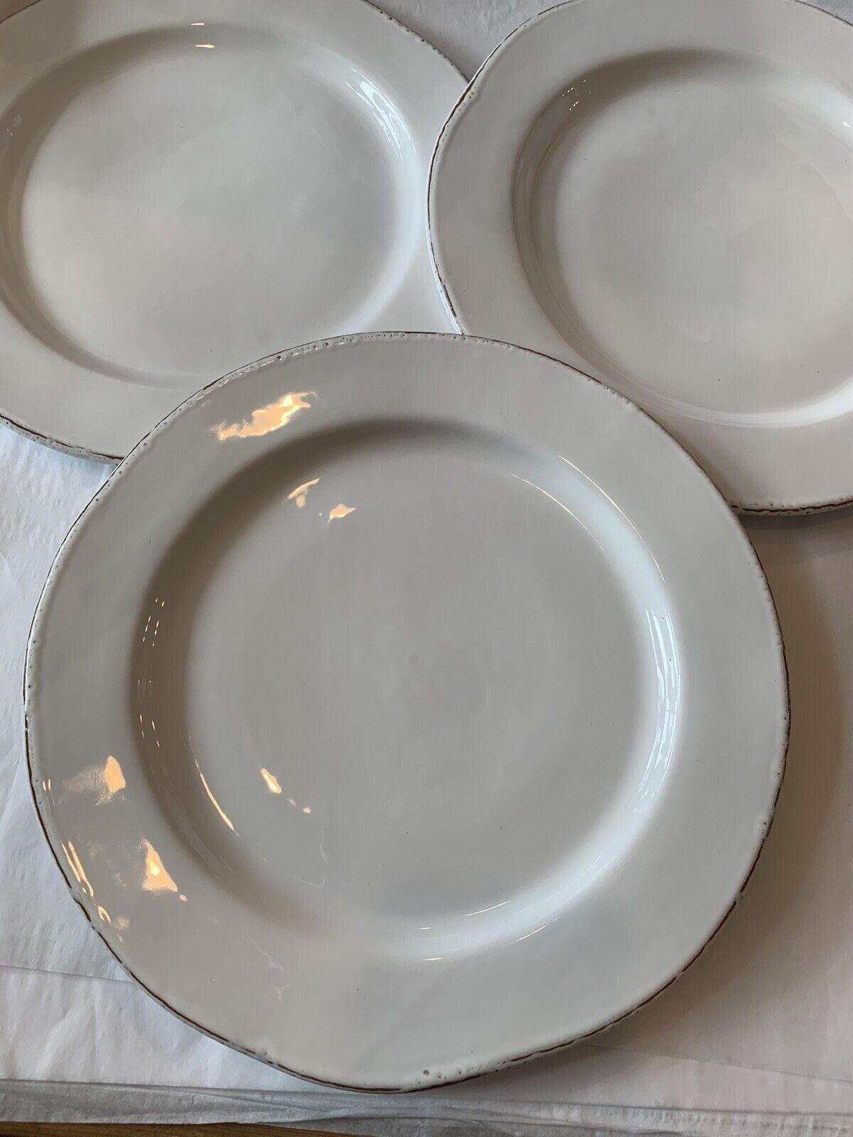 Vietri Bianco OverTaille Dinner Plate Set de 3 NEUF