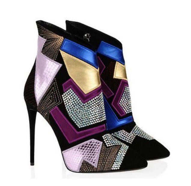 donna Ankle stivali Rhinestones Stilettos Gladiator Genuine Leather scarpe Fashion
