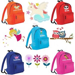 2d59b97359c3 Image is loading Personalised-Embroidered-Kids-Name-Girls-Childrens-School- Bag-