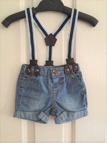 NEW Baby Boy Summer Cotton Denim Suspender Shorts Size 3M  6M CAKE SMASH