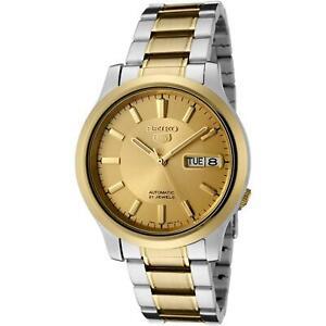 Seiko 5 Auto Gold Dial Two Tone Silver gold Steel Men's Watch SNK792K1