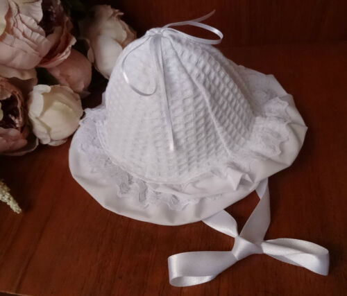 Baby Girl White Waffle Cloche Hat,Lace Trim,Ribbon Tie,NB-0-3-6m